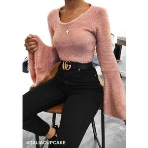 Jack by BB Dakota Regine Bell Sleeve Rose Sweater